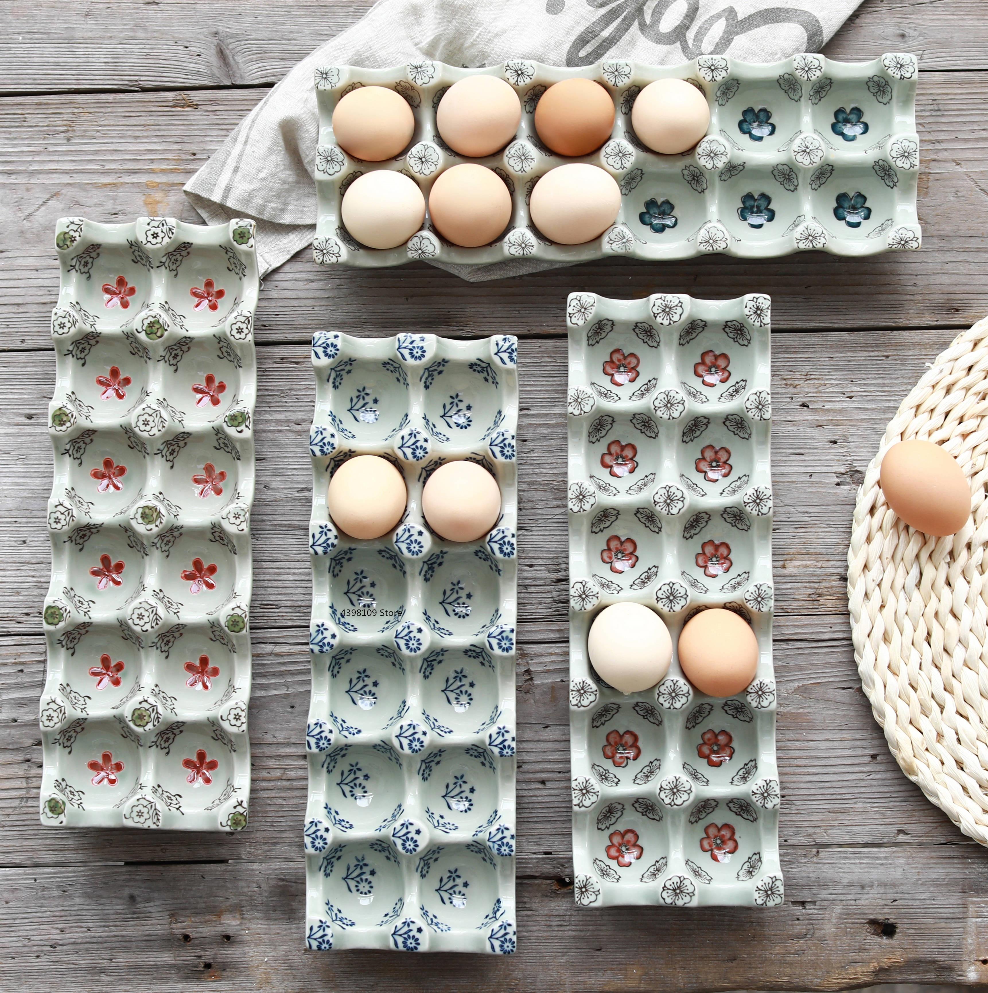 Estilo japonés bajo vidriado bandeja de huevos, de cerámica 12 rejilla separados rectangular bandeja de huevo de cocina Almacenamiento de huevos frescos para nevera caja