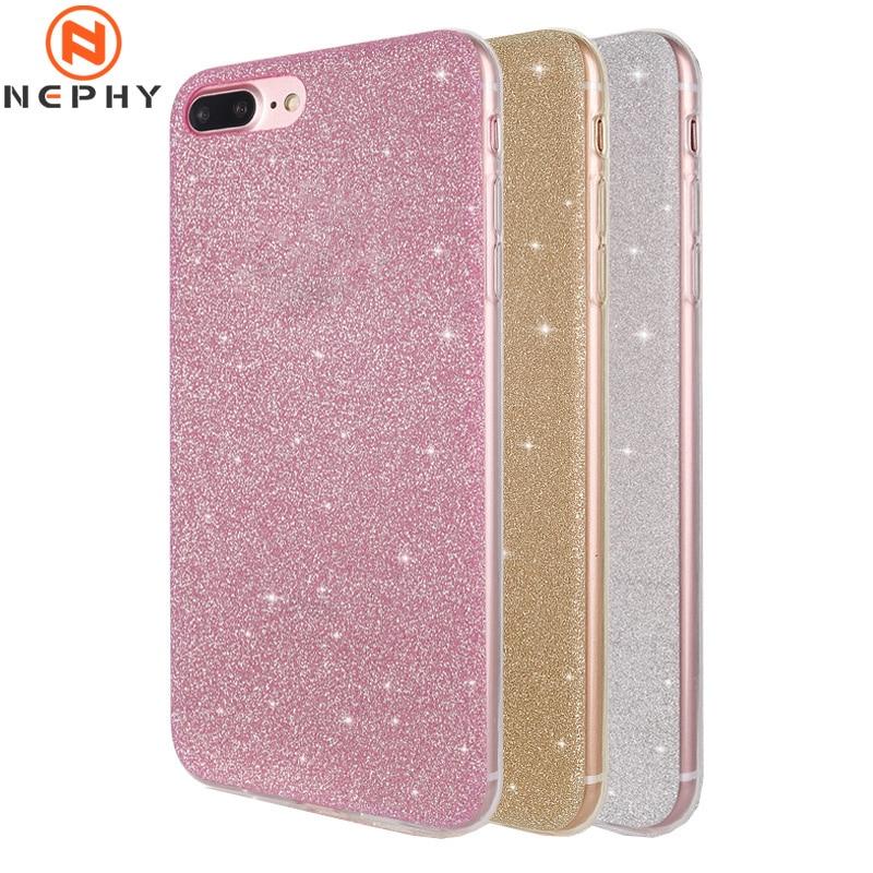 Flash Powder Matte Case For iPhone 6 6S 7 8 Plus 5 5S SE X 10 XS MAX 6Plus 6SPlus 7Plus 8Plus XSMAX Cell Phone Cover soft Luxury