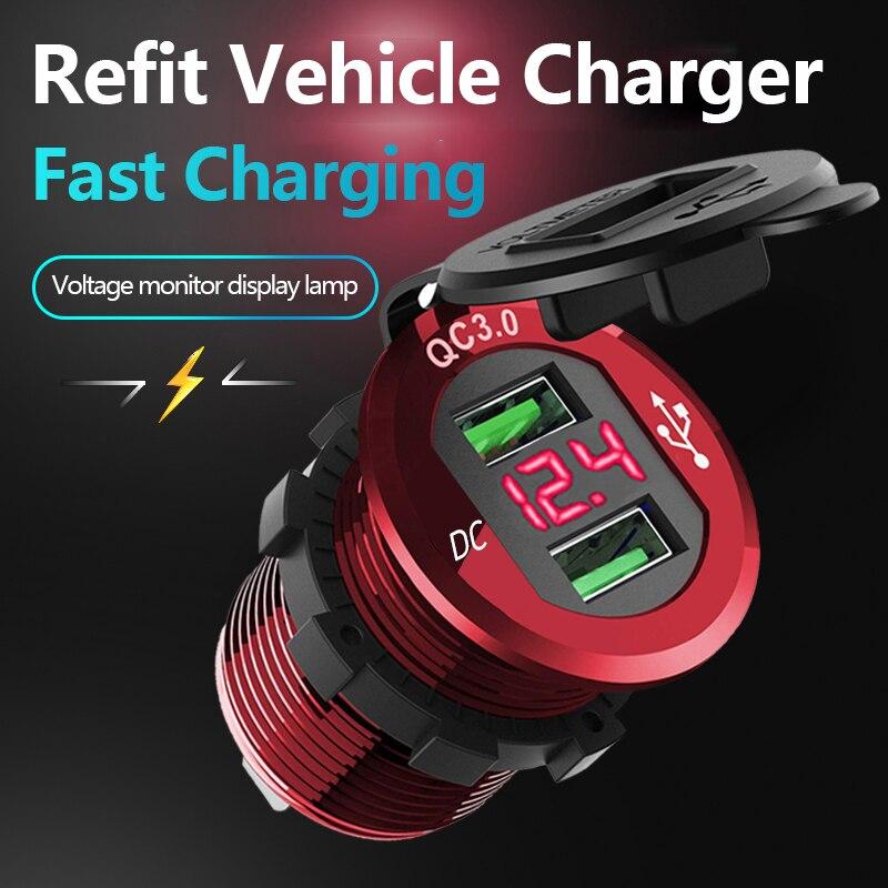 12V/24V coche motocicleta impermeable Dual USB QC 3,0 cargador rápido toma de corriente cargador con pantalla Digital Dropshipping