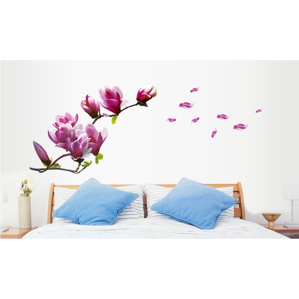 Beautiful Mangnolia Flowers Removable Wall Art Sticter Decals Vinyl Stickers  Wallpaper Mural