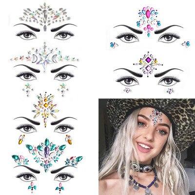 6 pçs adesivo tatuagem temporária adesivos rosto jóias festival festa corpo gemas strass glitter flash tatuagens adesivos compõem