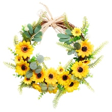 Artificial Sunflower Wreath Horn Garland Easter Home Living Room Door Decorations Fake Flower Wreath With Green Leaf