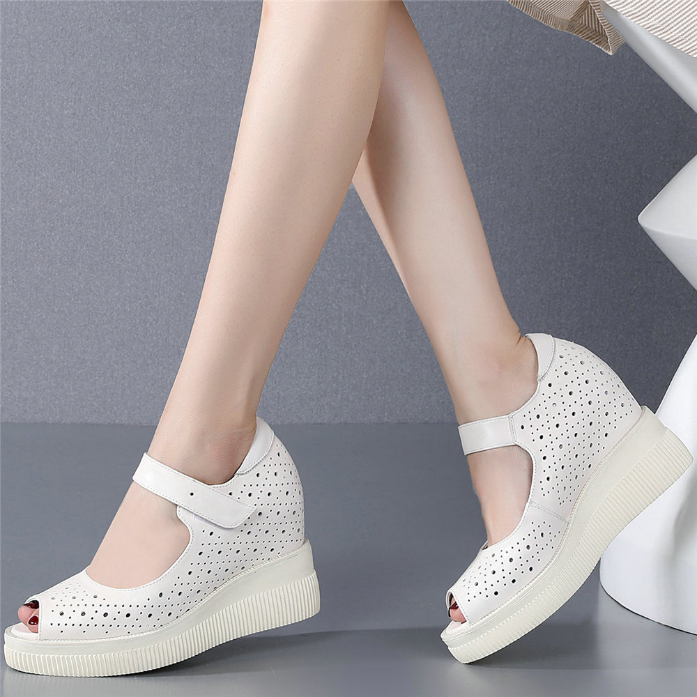 Summer Mary Janes Women Genuine Leather Wedges High Heel Gladiator Sandals Female Peep Toe Platform Pumps Shoes Casual Shoes  - buy with discount