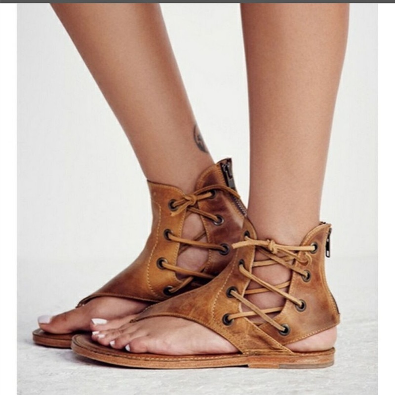 Women Sandals 2020 Summer Outdoor Beach Flip-flop Solid Fashion Gladiator Flats Casual Lady Shoes Vintage