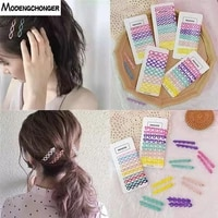 10pcsset candy colors hair clip style metal barrette side cross steel clip for women girls kids korean hairpin hair accessories