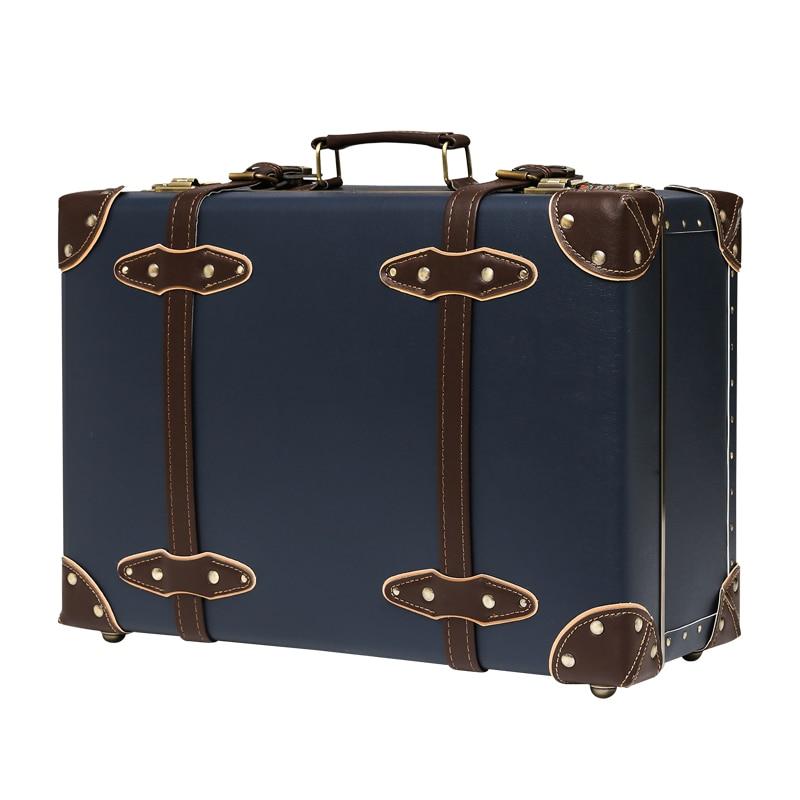 Retro suitcase Female small 12inch password suitcase Handmade leather trunk Mini Cosmetic case custom made Luggage
