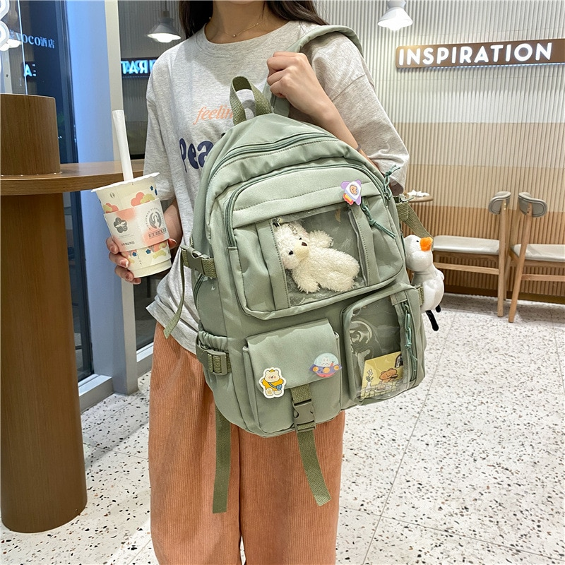 Kawaii Girl Travel Book Bags Large Capacity Backpack Waterproof Nylon Female Schoolbag College Lady