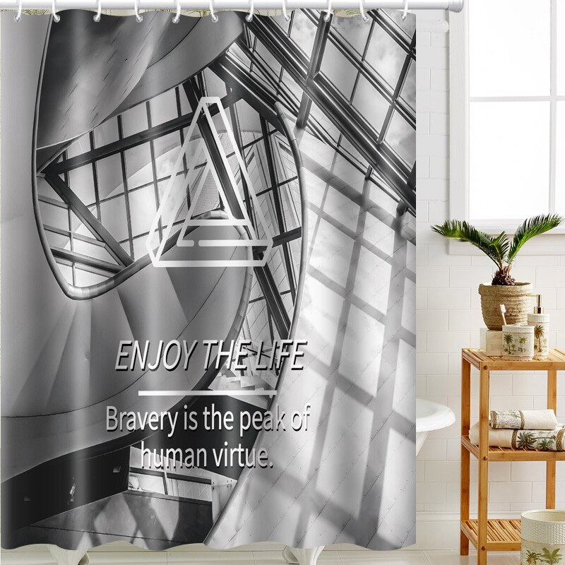 Bathlux Printed Fabric Shower Curtain Waterproof 100% Polyester Shower Curtain 70.8x78.7 Inch with Hooks  - buy with discount