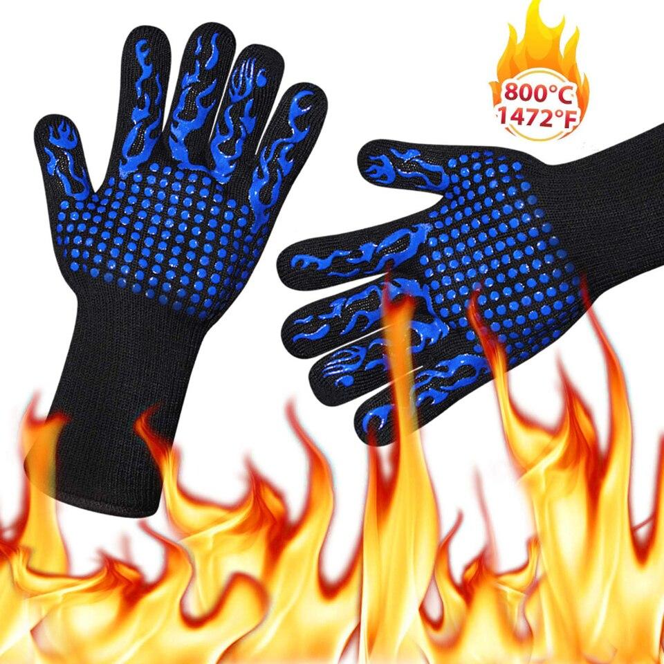 1Pc Ofen Mitts Handschuhe Hohe Temperatur Widerstand Backen Werkzeuge Küche Silikon Baumwolle Küche Ofen Bbq Handschuhe Finger Protector