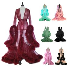 Old Hollywood Fuzzy Robe for Bed Time Flared Sleeve Tailing Dress Tulle Boudoir Robe Feather Bridal
