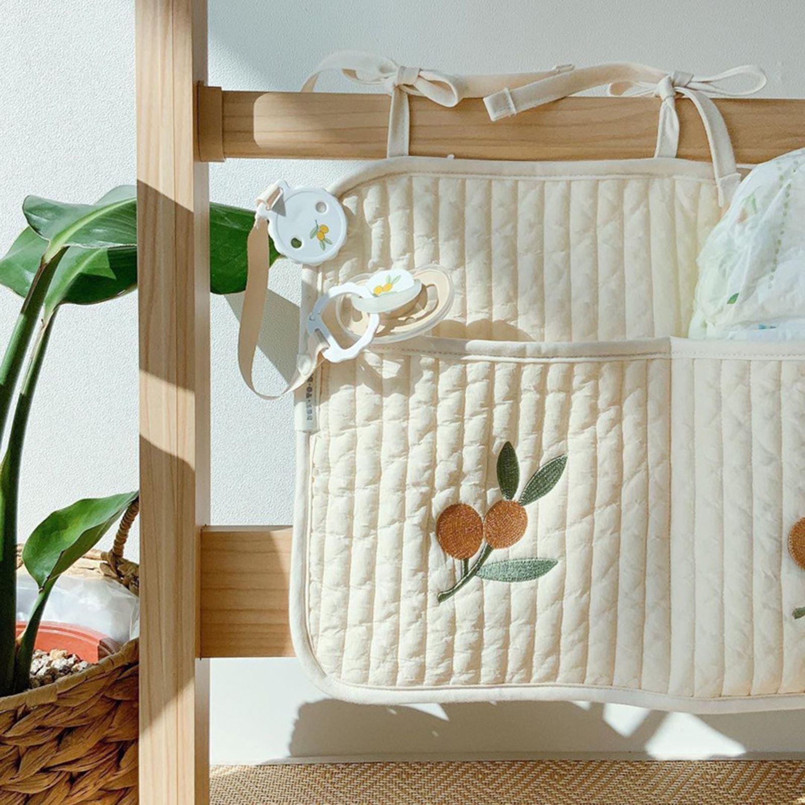 Органайзер для детской кроватки, подвесные сумки, органайзер для детской коляски, из хлопка и льна, направляющие для игрушек, подгузников, д...