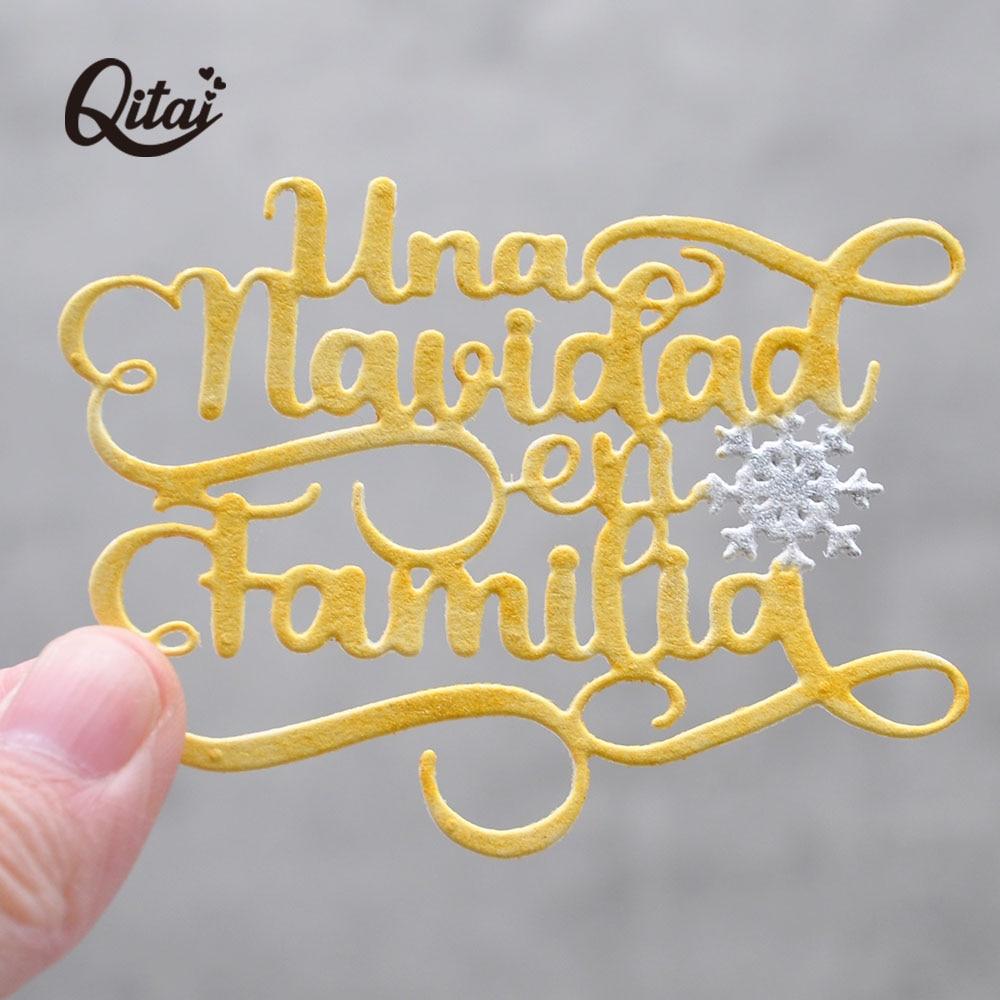 QITAI-troqueles de corte de Metal con palabras En español para Navidad, plantilla...
