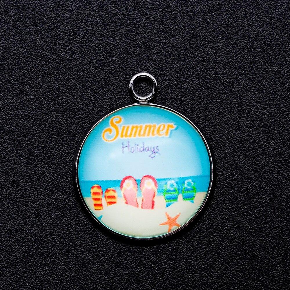 5 unids/lote de joyería de cabujón de vacaciones de verano colgante DIY dijes venta al por mayor de fábrica de suministros de joyería