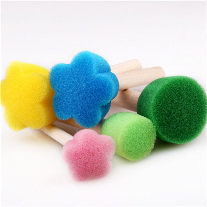 5 шт. Губка кисти набор для рисования для детей Искусство Цветочный узор DIY Инструменты для рисования