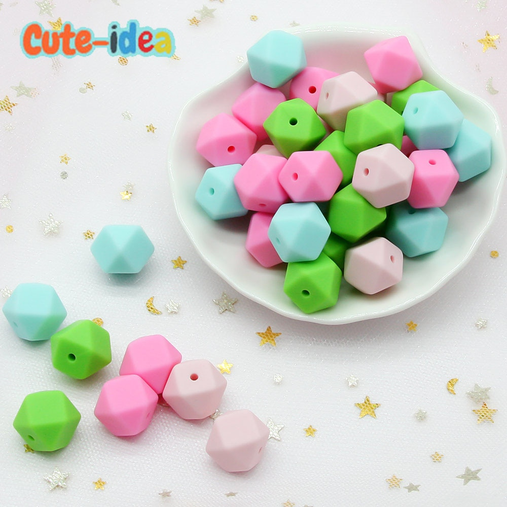 Cute-idea Hexagon Silicone Beads 14mm 1000pcs Food Grade Silicone Teether DIY Pacifier Nursing Necklace Baby teething toys