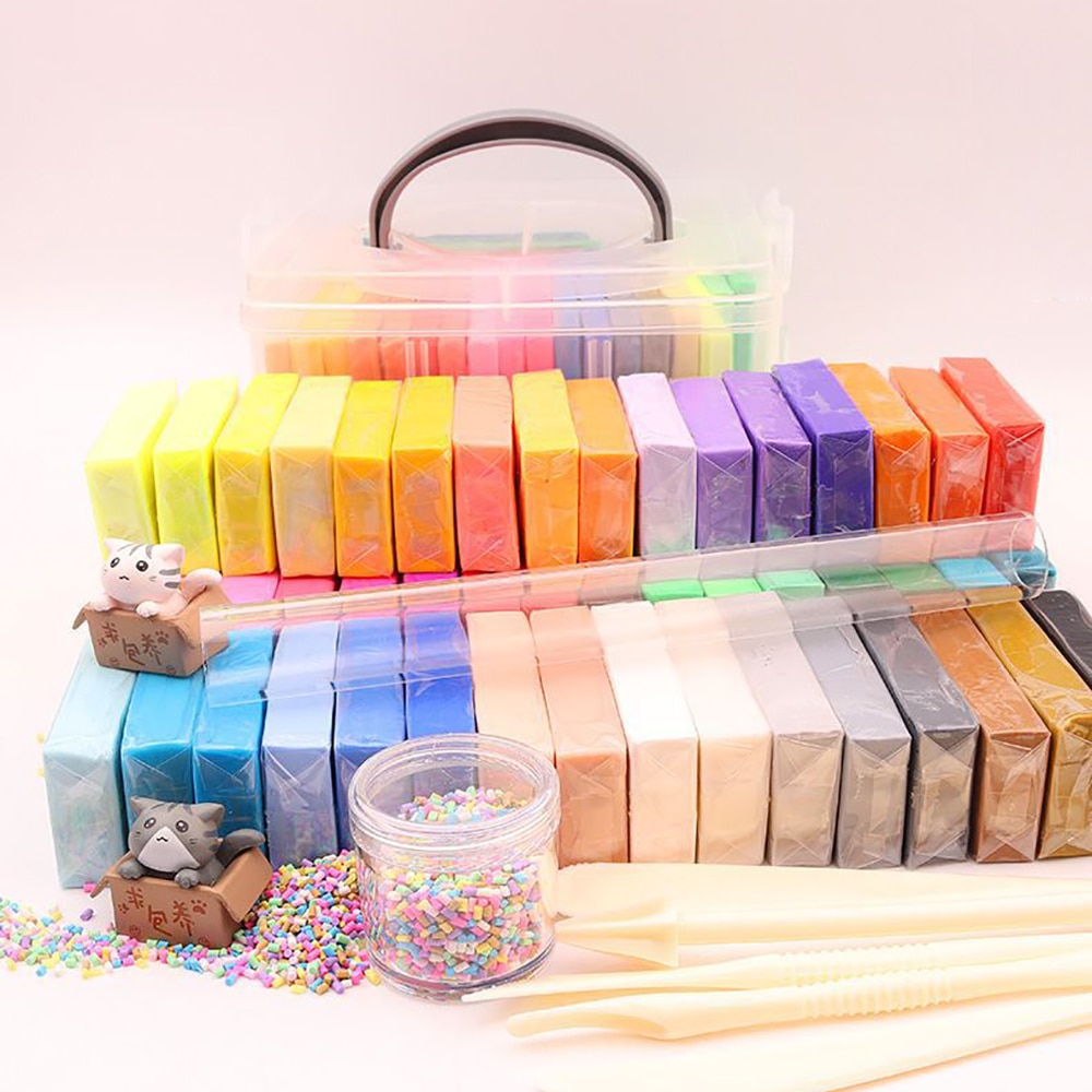 12/42 Colors Polymer Clay Starter Kit DIY Soft Craft Oven Bake Clay Baking Modeling Clays Accessories And Storage Box Kid Gift professional high quality oven bake polymer clay figure ob doll modeling bjd face soft clay soil mud good plasticity
