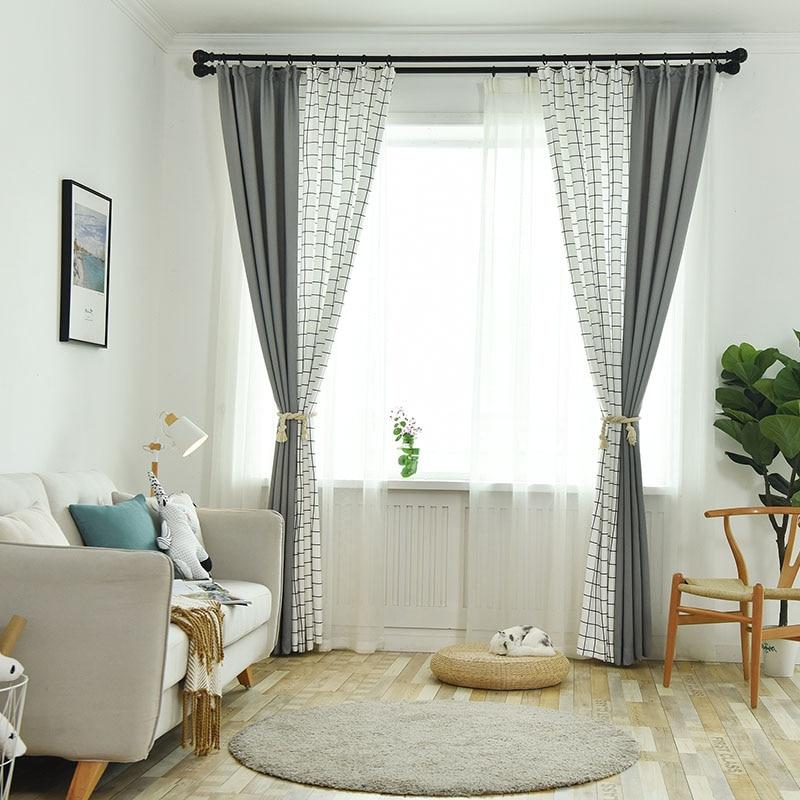 Cortinas simples y modernas de estilo de punto gris para dormitorio, sala de estar, cortinas de diseño a cuadros, decoraciones para balcón