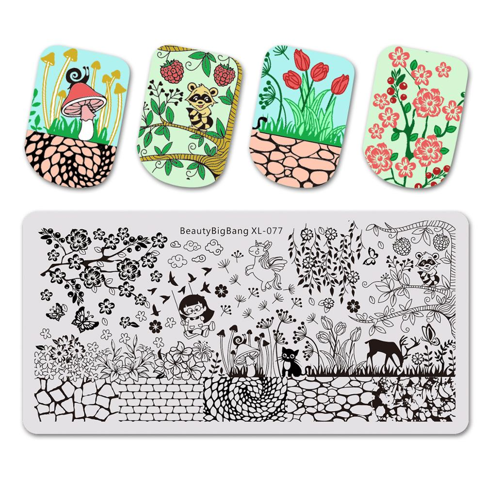 BeautyBigBang 6*12cm Stamping Plates Dandelion Grass Wall Cute Image Stainless Steel Nail Stamping For Nail Polish Art недорого