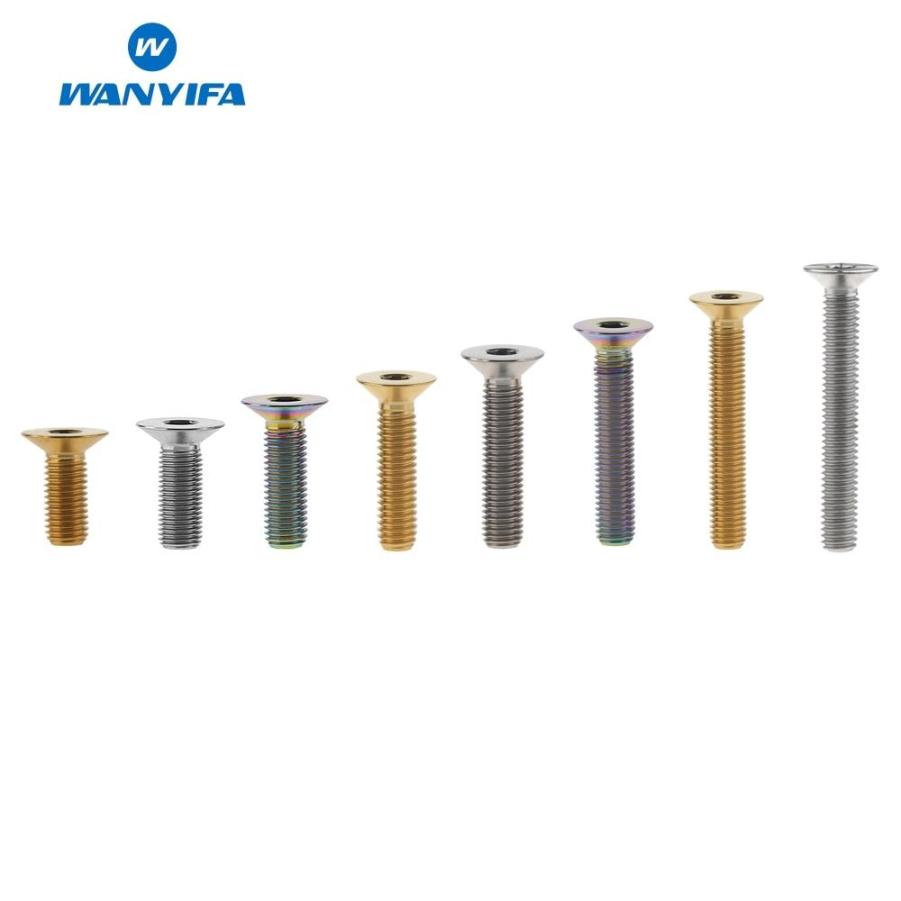 Wanyifa M6 x 10 15 20 25 30 35 40 45mm llave Allen de tornillo de cabeza avellanada perno para freno de disco de bicicleta