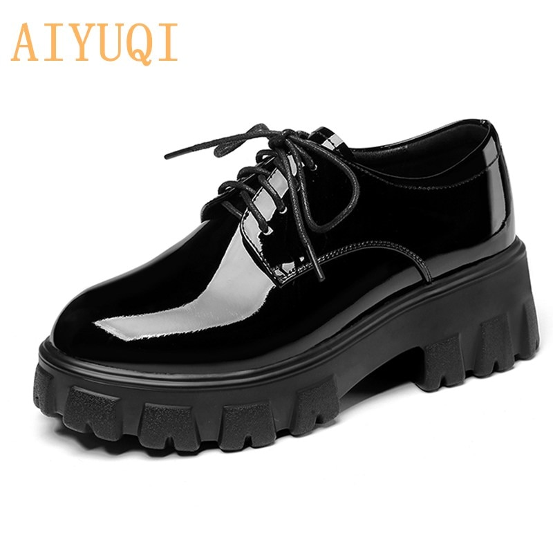 AIYUQI Women Shoes Platform 2021 New British style Thick-soled Genuine leather Shoes Women Large size 35-43 Ladies Spring Shoes