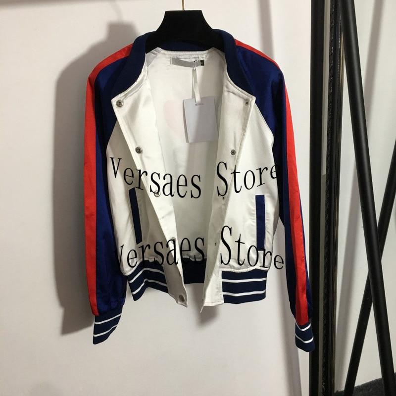 deluxe design women's jacket jacket fashion Baseball Jacket color matching long sleeve women's cardigan jacket spring and Autumn enlarge
