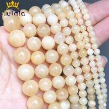 Grânulos de pedra naturais amarelo jades redondo solto espaçador grânulos para fazer jóias diy brinco pulseira acessórios 15 accessories 4/6/8/10/12mm