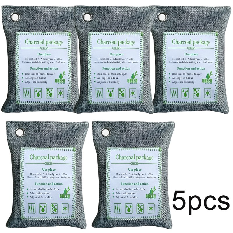 5X bolsas Purificadoras de aire 200g de carbón de bambú refrigerador purificador removedor de olores