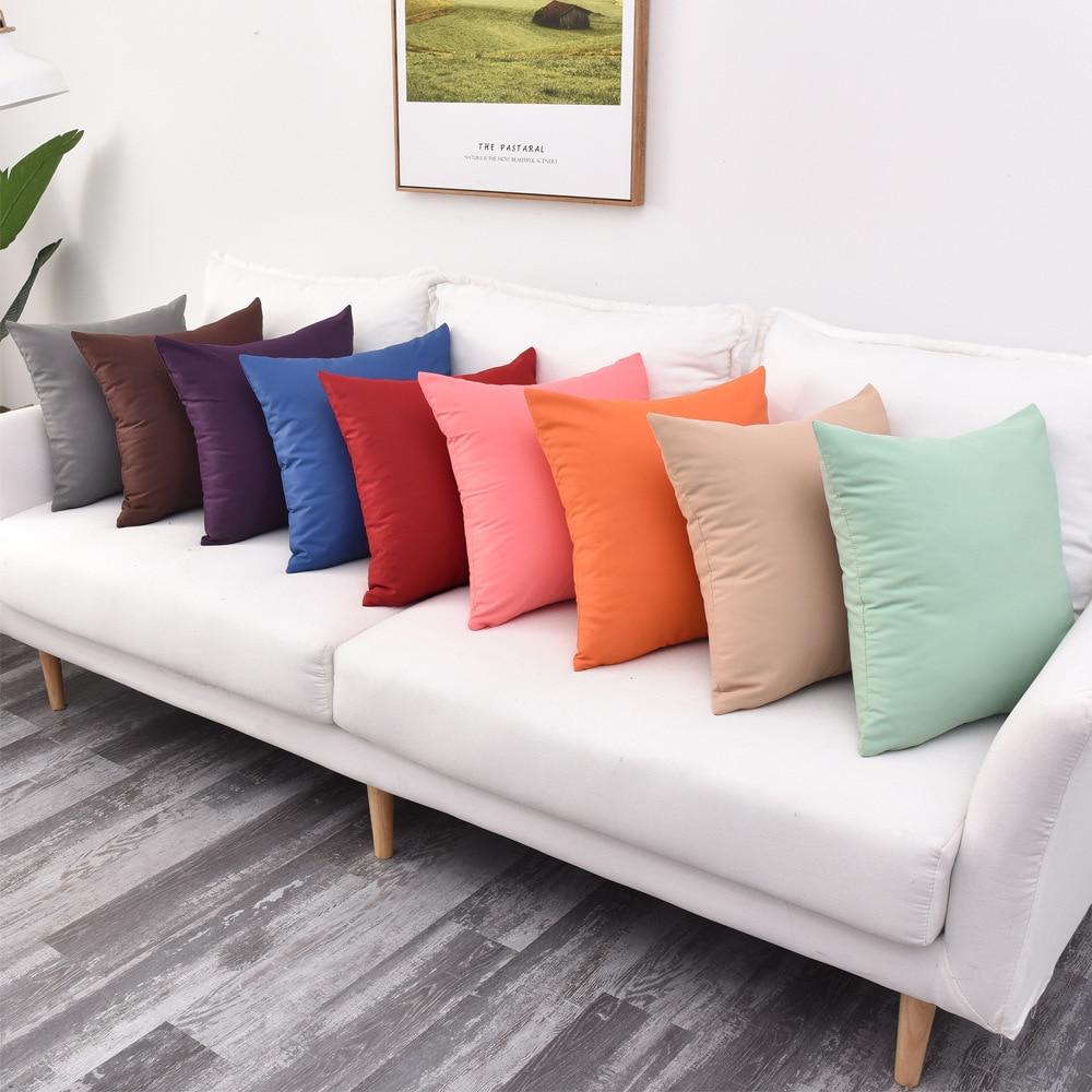 Simples cor sólida capa de almofada sarja impermeável fronha sofá ao ar livre cadeira de cama de carro decoração de casa 30/35/40x4 0cm/45*45/50/60