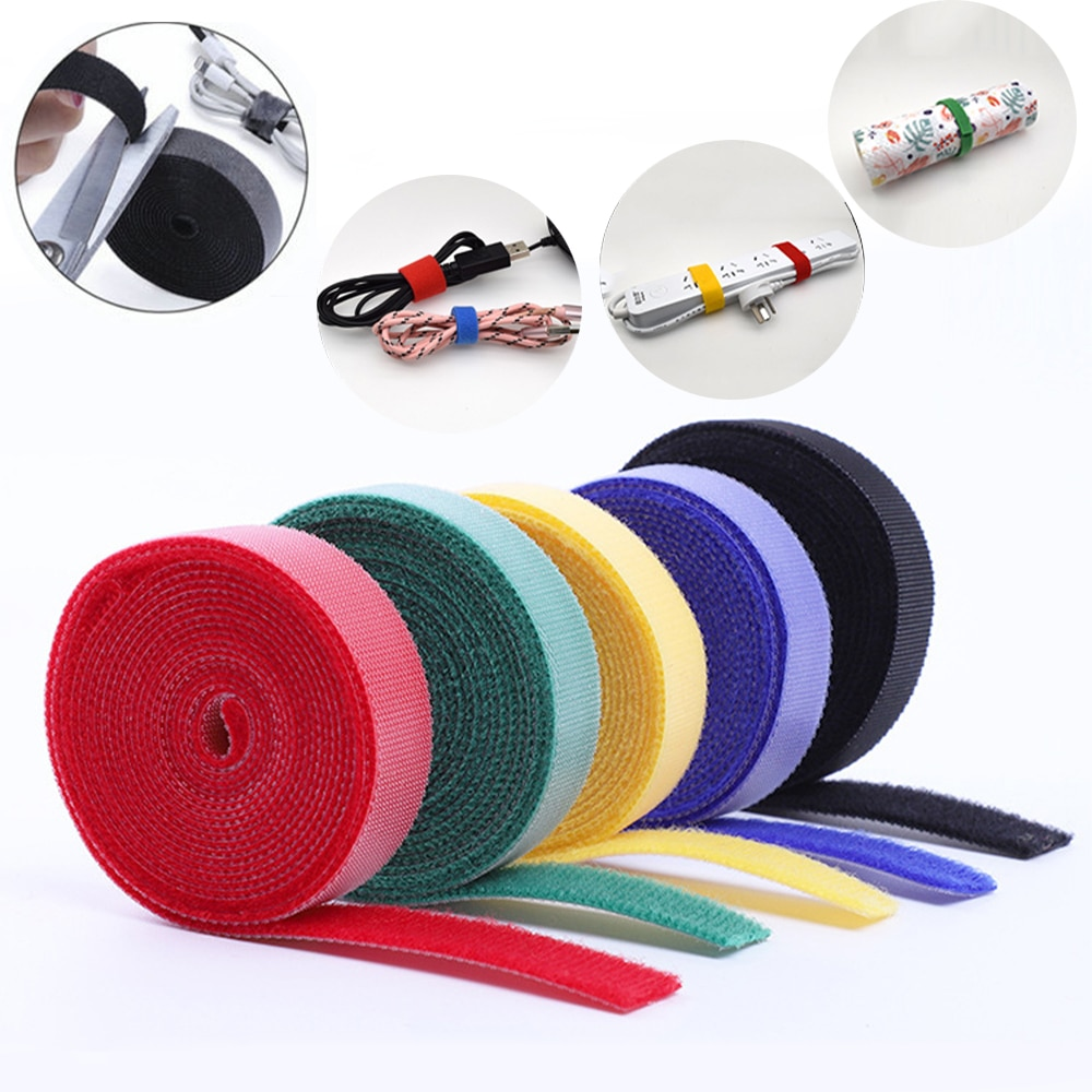 5M DIY reusable nylon cable tie management winder cable tie self-adhesive Velcro tape color cable tie