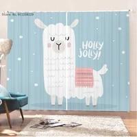 alpaca window curtains 2 panels lovely kawaii animal cartoon window drapes 3d print for bedroom window treatment decoration