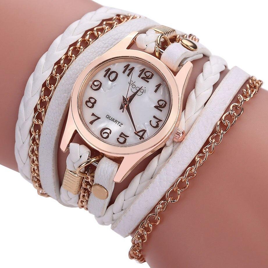 Reloj de cuarzo de cuero de lujo para mujer, reloj de pulsera informal a la moda para mujer, reloj femenino, reloj trenzado de leopardo para mujer 8O57