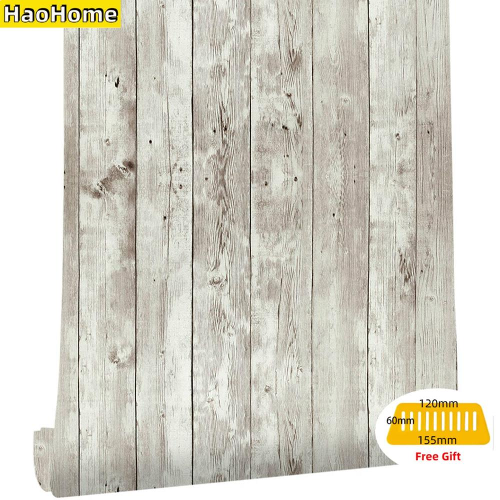 HaoHome Reclaimed Wood Distressed Wood Panel Peel and Stick Wallpaper Self-Adhesive Removable Wall Covering Decorative Vintage brown wood papers wood peel and stick wallpaper removable wood grain self adhesive vintage distressed wood grain renovated paper