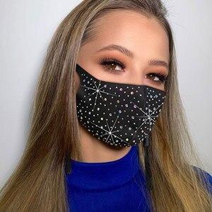 Bling Sequined Mask Decoration Elastic Mask Jewelry For Women Fashion Rhinestone Unisex For Halloween Costume Cosplay Masks