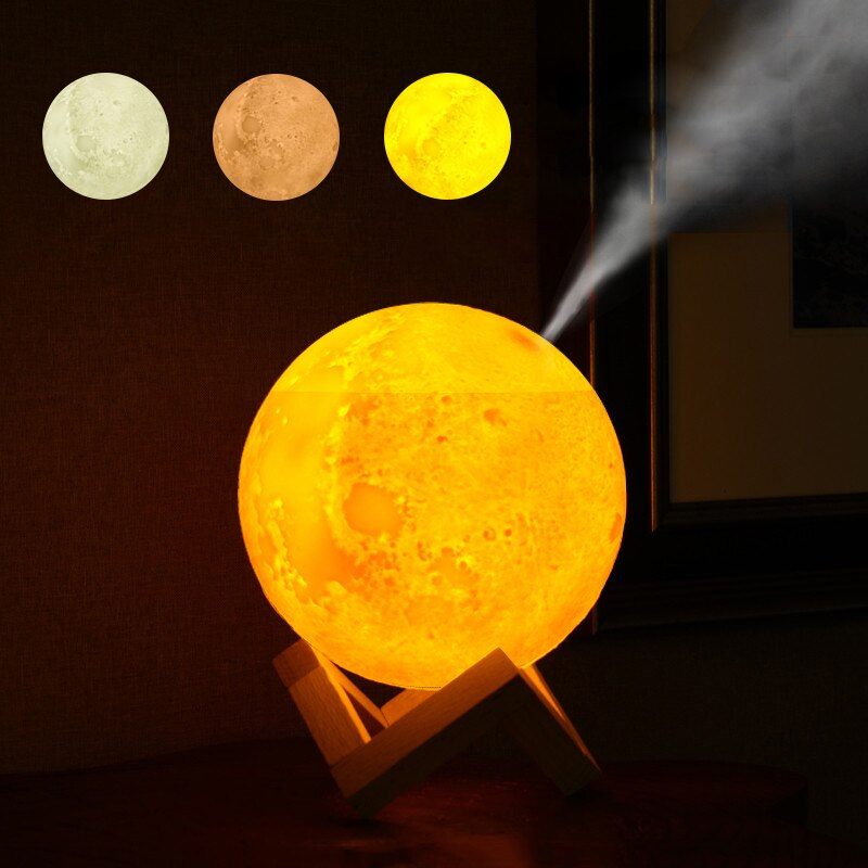 Air HUmidifier 3D Moon light 880ML Diffuser Aroma Essential Oil USB Ultrasonic Humidificador Night Cool Mist Maker Purifier