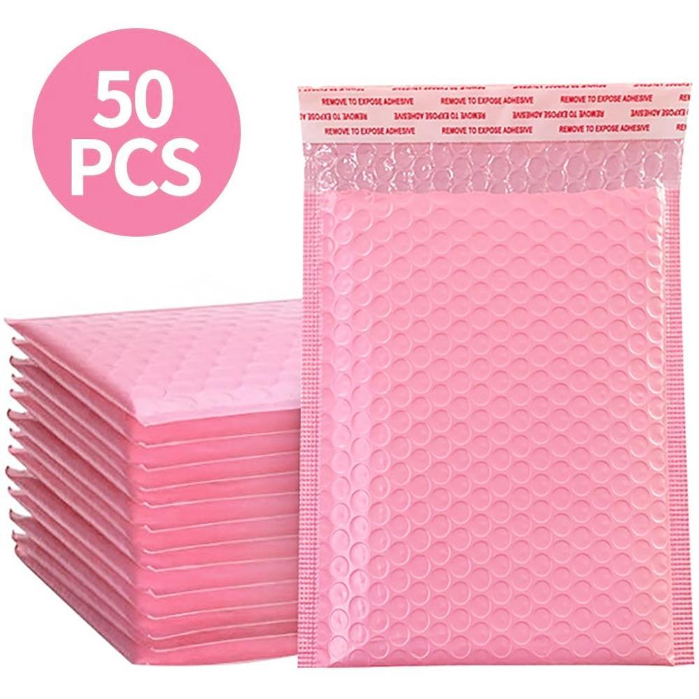 Enveloppes rembourrées à bulles de couleur rose, 50 pièces, sachets-cadeaux pour les livres et magazines, courrier poly auto-joint