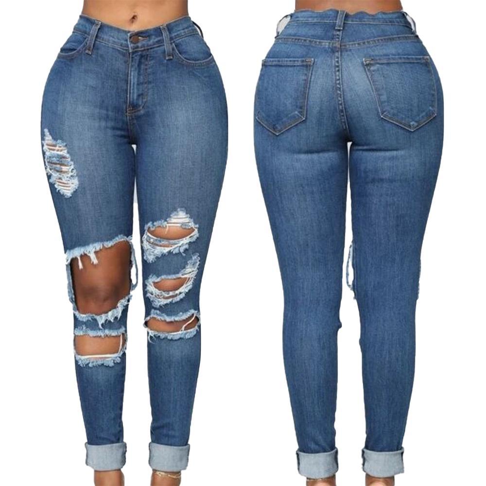 سراويل جينز ضيقة عالية الخصر للنساء سراويل جينز ضيقة ممزقة للسيدات سراويل ضيقة دمرت