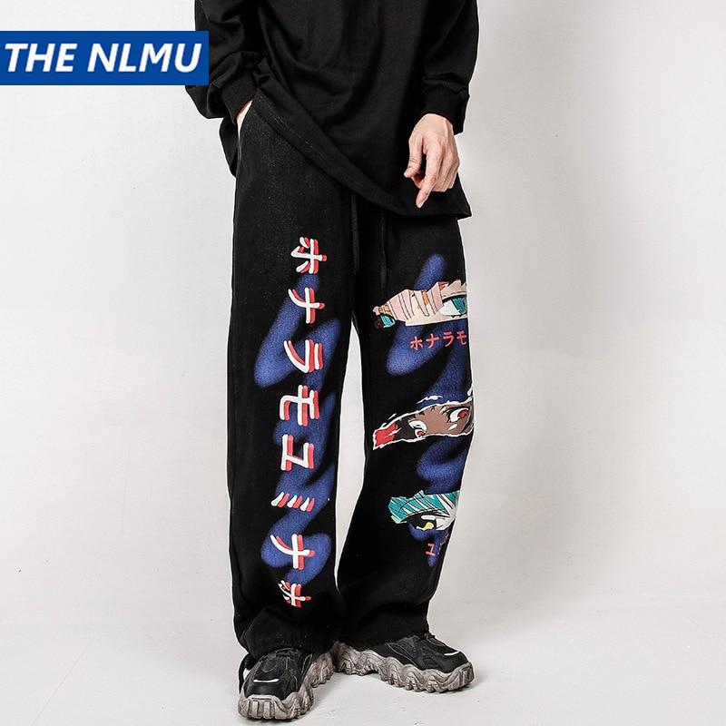 Harajuku-بنطلون رجالي مستقيم مطبوع عليه رسوم كرتونية ، ركض ملابس الشارع ، هيب هوب غير رسمي ، ملابس رياضية ، موضة ، أسود ، WY272 ، 2020