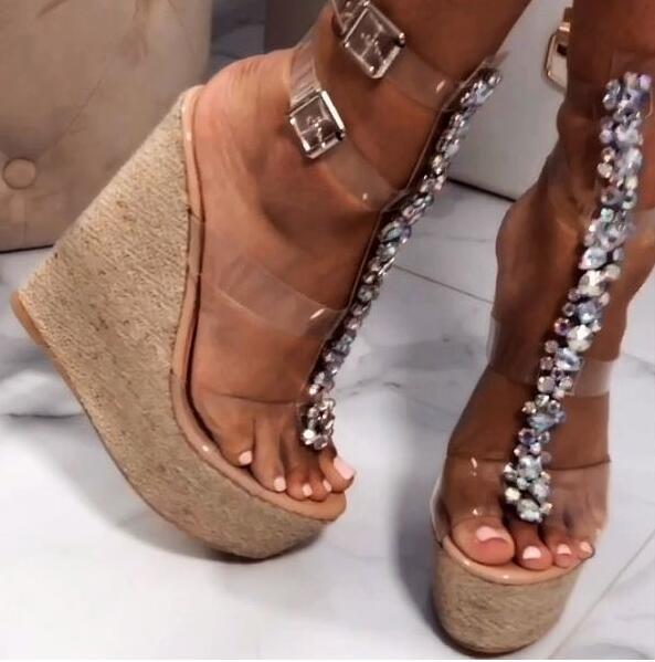 Moraima Snc Sexy Open TOe T-strap Woman Sandal Clear PVC Crystal Embellished Platform Wedge Shoes Super High Buckle Strap Sandal