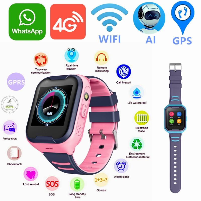 O miúdo 4g wifi gps tracker relógio inteligente whatsapp google traduz o cartão sim pulseira eletrônica à prova dwaterproof água relógio de chamada telefone smartwatch