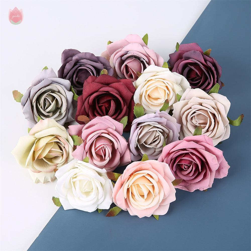 2/10pcs 7CM Artificial Silk Rose Flower head for Wedding flower wall decorative Home Decor DIY Wreath Scrapbook Gift Box Craft