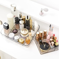 Transparent Acrylic Makeup Box Lipstick Holder Grid Storage Desktop Cosmetic Organizer Skin Care Display Stand Bathroom Supplies