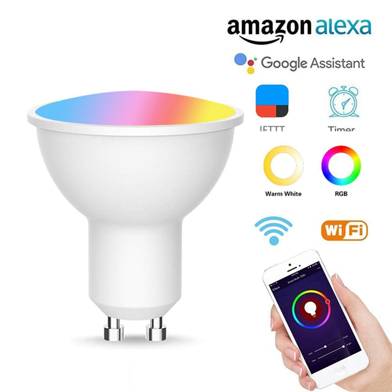 1/2/5/10pcs New GU10 Smart RGB+CW Bulb Wireless WiFi App Light Smart Home Automation Compatible With