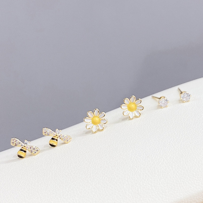 S925 Silver Needle Little Daisy Ring 3 Pcs/set Stud Earrings Personality Bee Earrings Jewelry for Women