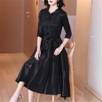 miyake folds noble lady temperament plus size dress spring 2021 new female slim body slim mid length high end pleated hood