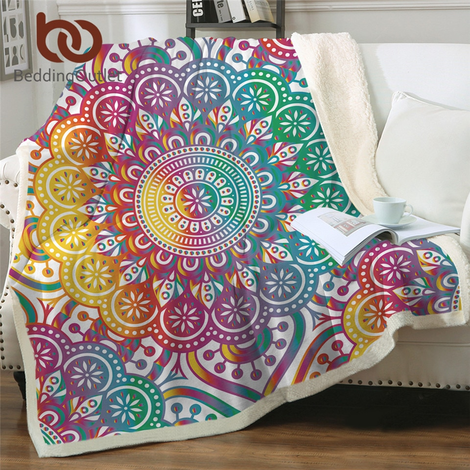 Beddingoutlet mandala cobertor macio flor colorida cobertor sherpa boêmio cama menina arco-íris jogar cobertor para camas 150x200