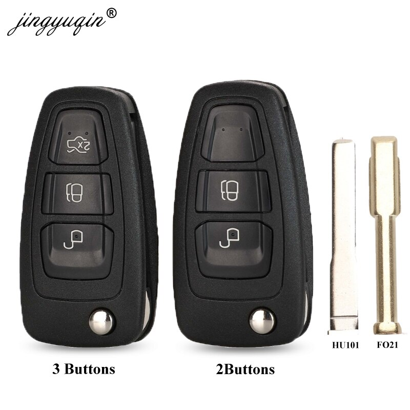 jignyuqin 10pcs Flip Remote Key Case Shell 2/3 Button for Ford Ranger Focus Fiesta Mondeo HU101/FO21 Key Blade Key Case