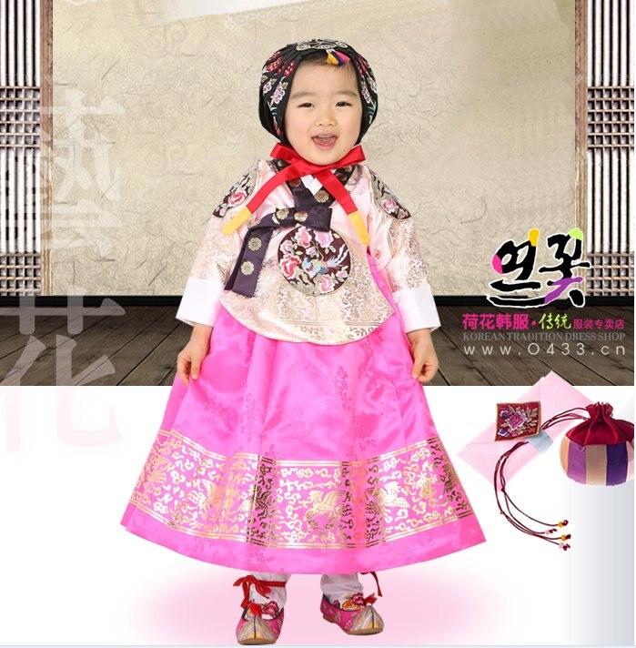 Antiguo Corea Hanbok niños espectáculo escenario Niñas Ropa danza asiática Hanbok vestido tradicional traje niños tutú vestido envío rápido