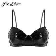 FEESHOW Sexy femmes Lingerie cuir étagère soutien-gorge adulte femme Wetlook Rave intime marchandises Latex Bralette sans fil sans doublure brassière
