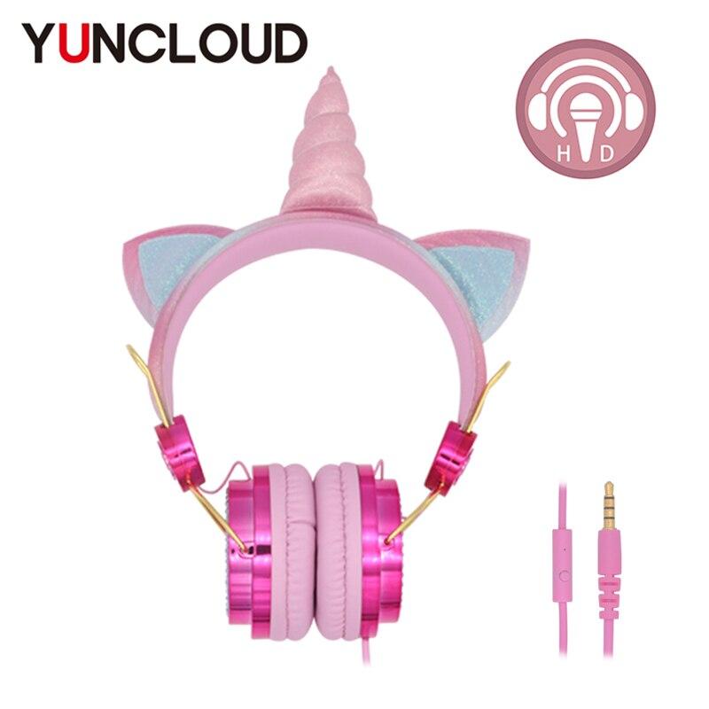 Unicórnio com Fio Fone de Ouvido com Microfone Fone de Ouvido do Telefone Presente do Miúdo Bonito Meninas Crianças Música Estéreo pc Daugther Criança