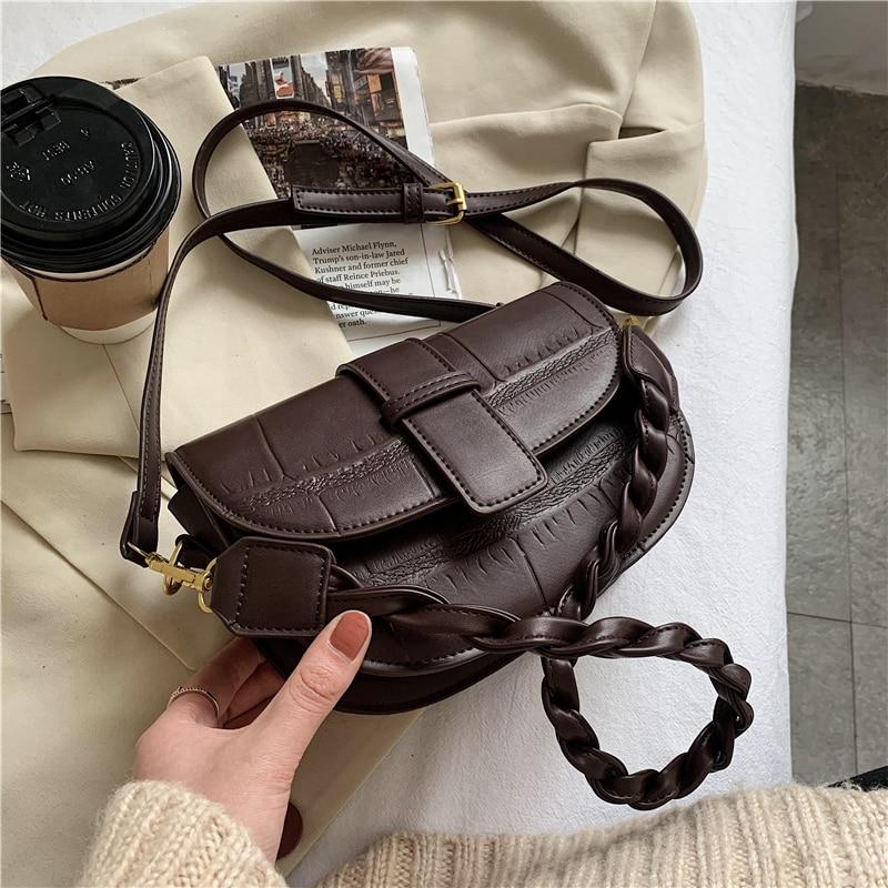 Toposhine Borse da donna Half Moon Lady Shoulder Bags Women Fashion Stone Pattern Crossbody Bag Girls Knitting Belt Luxury Bag